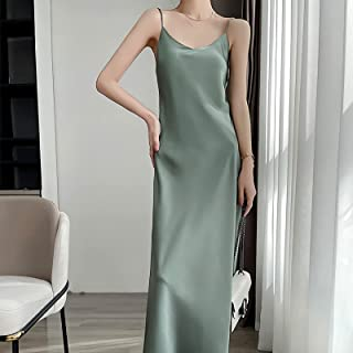 Silk Satin Slip Dress, Women's Long Silky Tank Top Adjustable Spaghetti Strap Camisole Slip Dress (Green,L)