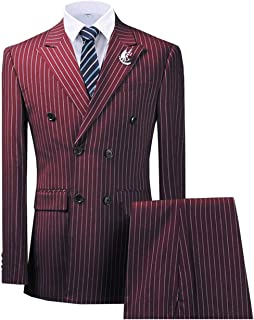 Men's Business Suit 3 Piece Classic Pinstripe Tuxedo Modern Fit Dress Blazer Groomsman Wedding(Jacket+Vest+Pants)