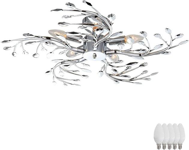 Plafond spots salon salle à hommeger éclairage feuilles chrome branches ensemble de lampes y compris les ampoules LED