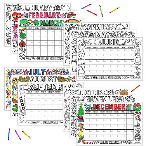 """Tiny Expressions - Kids Coloring Calendar (12 Months - 11"""" x 17"""") 