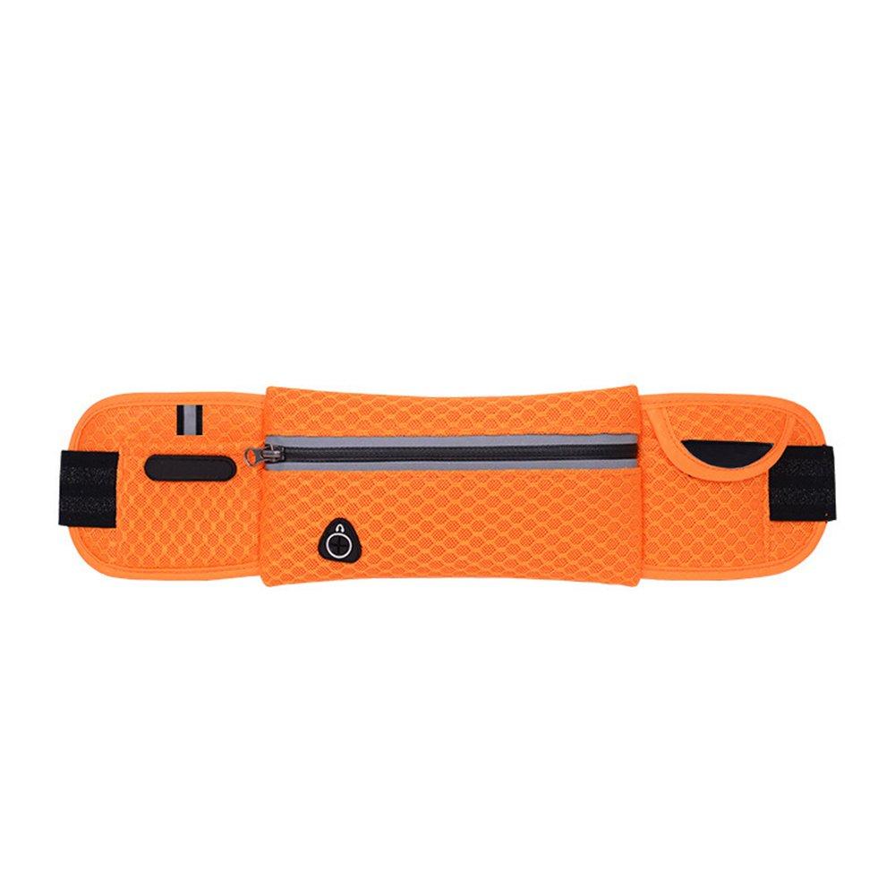 三極夏ランニングバッグスポーツポケット屋外防水通気性軽量ランニングバッグ多機能男性と女性マラソンベルト(オレンジ)