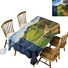 ZJ66dzmt Nature Tablecloth masha and The Bear Collage of Three Autumn Season Scene on Road Hillside Meadow in Mountain Range Print W60xL71 Multicolor