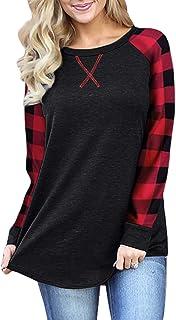 BAIKEA Womens Raglan Long Sleeve Buffalo Plaid Shirt Loose Fitting Tunic Tops