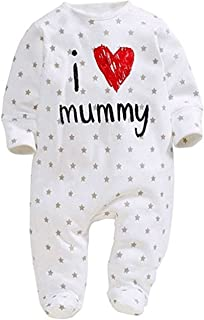 Newborn Baby Pure Cotton Long Sleeve Romper I Love Mommy Daddy Footed Jumpsuit