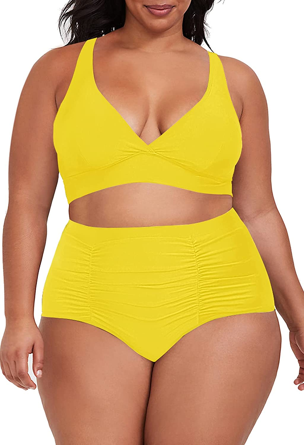 Sovoyontee Women's 2 Piece Plus Size High Waisted Swimsuit Bathing Suit