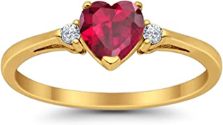 925 Sterling Silver Promise Ring Heart Shape Simulated Ruby Yellow Tone Rhodium PL Round Clear CZ Accent