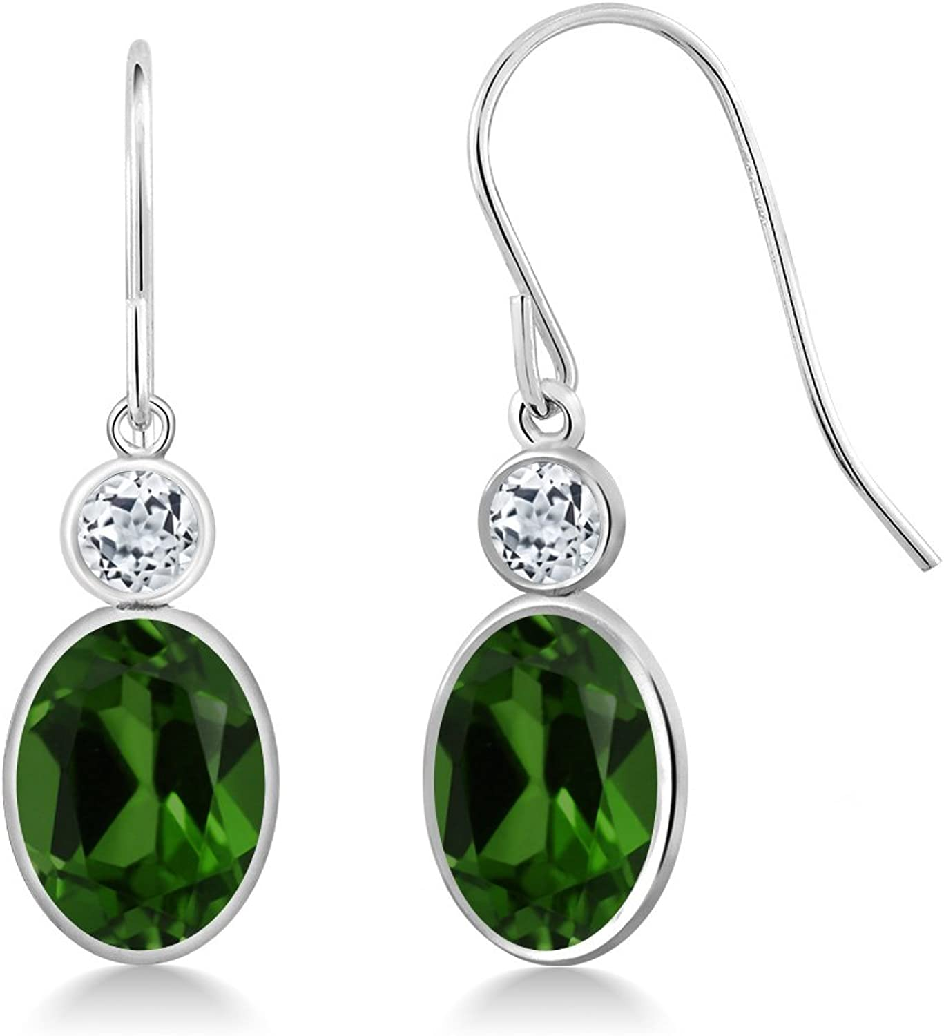 2.68 Ct Oval Green Chrome Diopside White Topaz 14K White gold Earrings