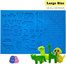 3D Pen Mat 16.4 x 10.9 inch, upgraded 3D Printing Pen Silicone Design Mat with basic and animal patterns, large Silicone Mat with 2 finger protectors, 3D Pens Drawing Tools for kids and 3D pen artists