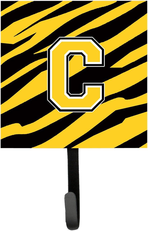 Caroline's Treasures CJ1026-CSH4 Letter C Initial Monogram-Tiger Stripe-Black gold Leash Holder or Key Hook, Small, Multicolor