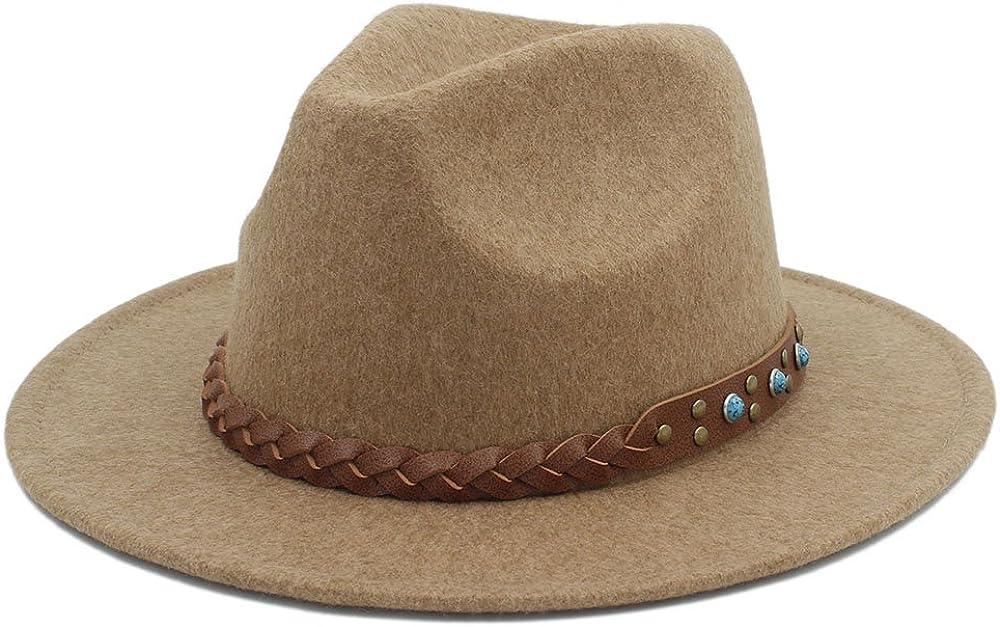 L.W.SUSL Women's Chapeu Feminino Fedora Hat for Gentleman Woolen Wide Brim Jazz Church Cap Panama Top Top Hat