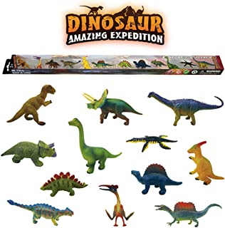 ERLOU 12 PCS Plastic Simulation The Dinosaur Animals World Puzzle Learning Toy Figures Education Toy Kids Boys Girls Gifts (Color Box Packaging)
