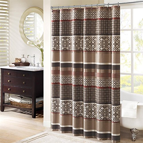 Madison Park Princeton Geometric Jacquard Fabric, Transitional Shower Curtains for Bathroom, 72 X 72, Red, 72x72