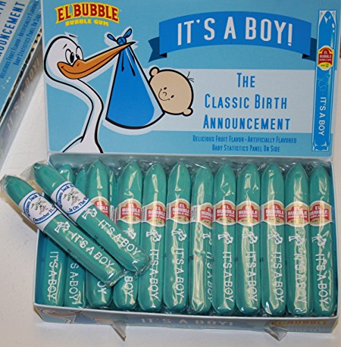 Personalized Blue It's a Boy Bubble Gum Cigar Box of 36 Cigars with Personalized Bands