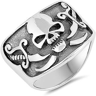 骑行者骷髅氧化剑十字环纯银海盗戒指尺寸 7-13