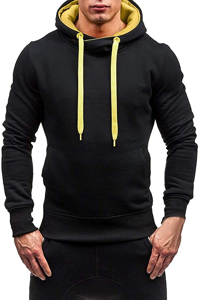 Misaky Hoodies for Men Autumn & Winter Casual Solid Color Pocket Long Sleeve Pullover Hooded Sweatshirt Tops