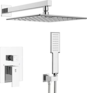 SR SUN RISE High Pressure Spray Shower System Bathroom Luxury Rain Mixer Shower Combo Set Wall Mounted Rainfall Shower Head System Polished Chrome Shower Faucet Rough-in Valve Body and Trim Included