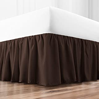 Zen Home Luxury Ruffled Bed Skirt - 1500 Series Luxury Brushed Microfiber w/Bamboo Blend Treatment - Eco-friendly, Hypoallergenic Dust Ruffle w/15 Drop - Queen - Brown