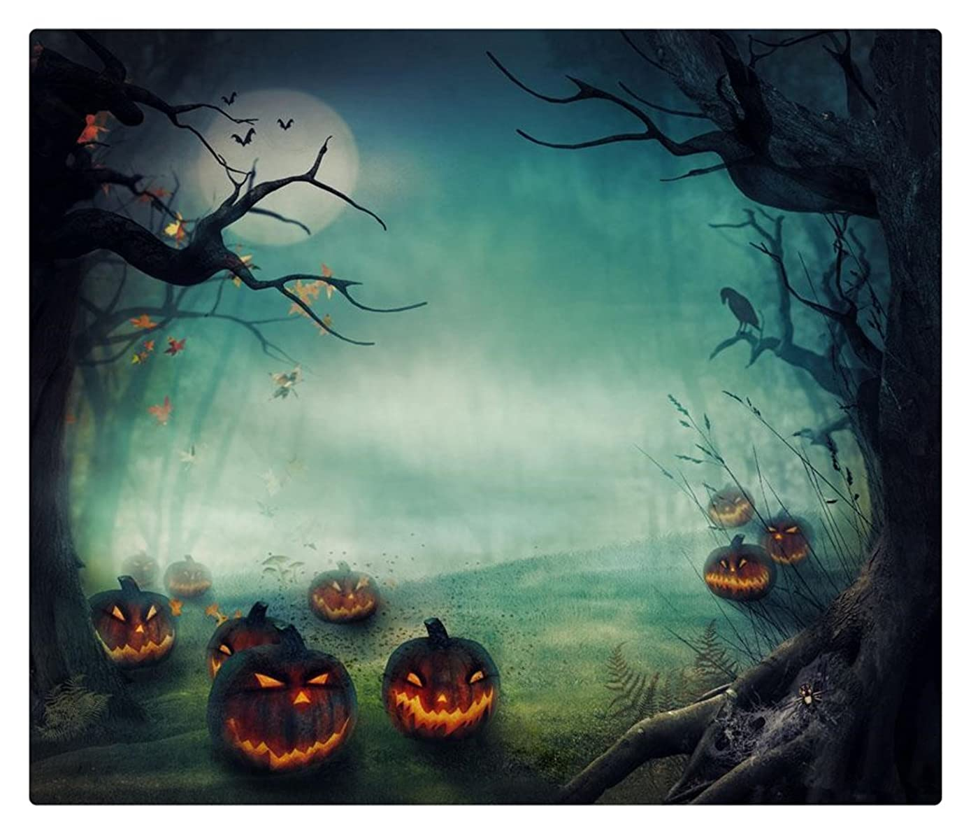 5x7 Photography Backdrop Halloween Misty Forest Yellow Pumpkin Lamps Black Trees Photo Backgrounds Moon Photo Studio Backdrop Holiday