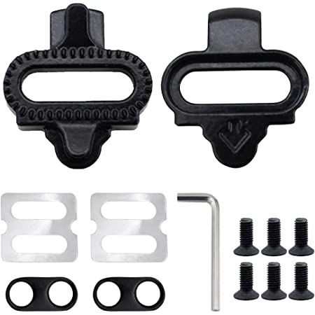 UBERMing Mountain Bike SPD Self-Locking Pedals Bicycle Shoes Cleats Pedal Universal Bike Accessories SPD Cleat Set for Mountain Bike Road Bicycle Shoes Cleats Pedals Locking Plate – Black