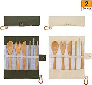 2 Pack Natural Bamboo Travel Cutlery Kit Portable Utensils Flatware Set Include Knife, Fork, Spoon, Straw and Cleaning Brush for Camping Office Lunch