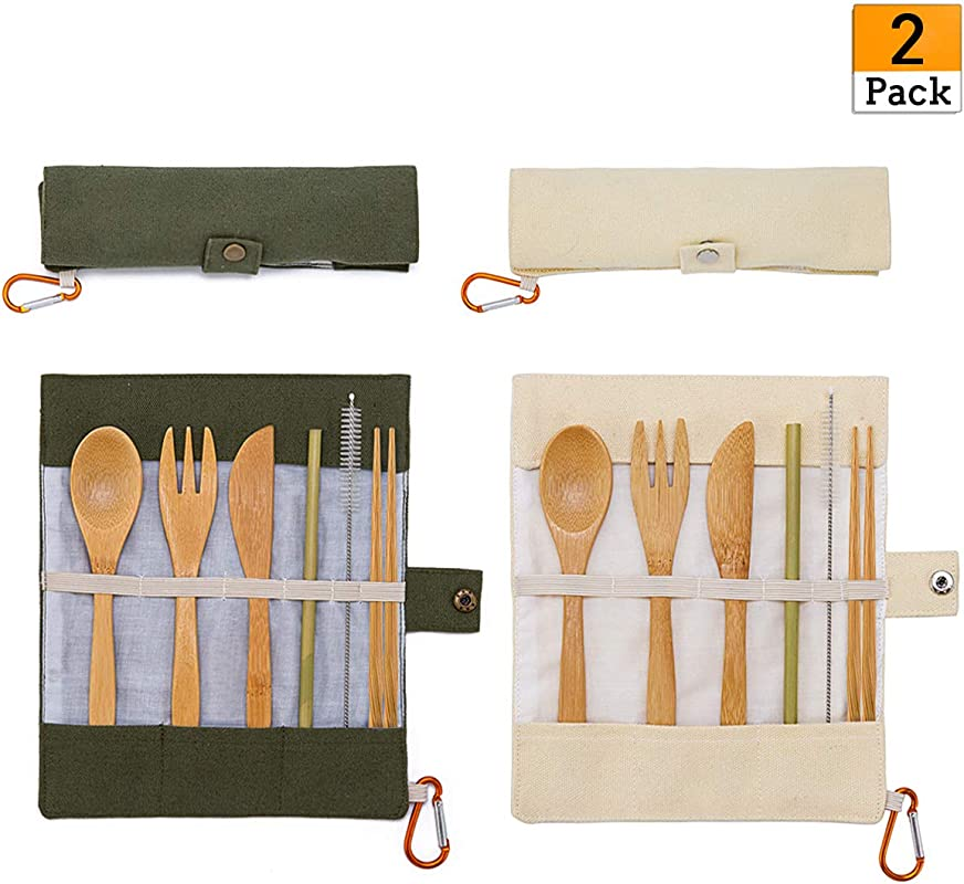 2 Pack Natural Bamboo Travel Cutlery Kit Portable Utensils Flatware Set Include Knife Fork Spoon Straw And Cleaning Brush For Camping Office Lunch