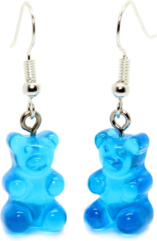 Earrings with turquoise blue gummy bear gummy bear earrings on silver metal alloy hook
