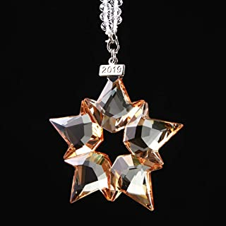XIANGBAN 2019 Crystal Snowflake, Annual Christmas Star Ornament K9 Prism Decoration (Champagne)