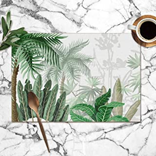 Large beach pants Placemats Set of 6,Border Tropical Tree Such Palm Nature Heat-Resistant Placemats Washable Table Mats for Kitchen Dining Table 12X18 Inch