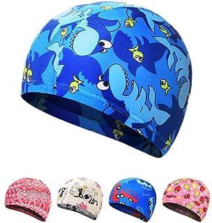 Ewanda store Solid Color Lycra Swim Caps Swimming Cap Swimming Hat Bath Caps for Kids Children Boys Girls with Long Hair