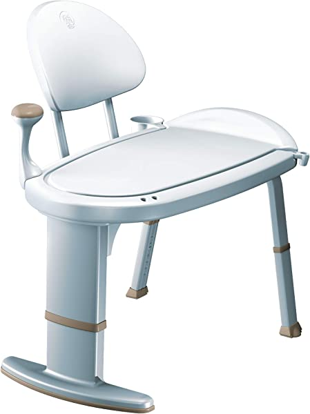 Moen DN7105 Home Care 33 Inch W X 18 Inch D Adjustable Height Non Slip Bath Safety Transfer Bench Glacier White