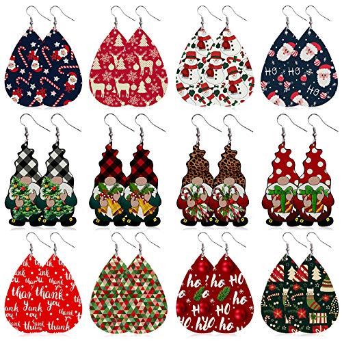 Stology Christmas Faux Leather Earrings Set of 12, Winter Holiday Teardrop Dangle Earrings Bulk Xmas Tree Buffalo Plaid Check Leopard Gnome Santa Jewelry Fashion Accessory for Women