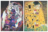 Dcine Cuadros Artista/Pintor Famoso Gustav Klimt ; el Beso sobre Madera. Set de 2 Unidades de 19 cm x 25 cm x 4 mm unid. Adhesivo FÁCIL COLGADO. Adorno Decorativo