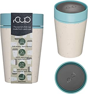 rCup 8oz - World's First Reusable Cup Made from Recycled Cups (White - Teal)