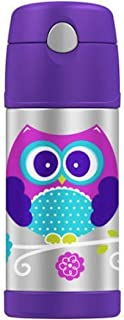 Genuine Thermos Brand Funtainer Durable Stainless Steel Vacuum Metal Purple Insulated Straw Bottle 12-Ounce (Not for hot liquids) - Owl