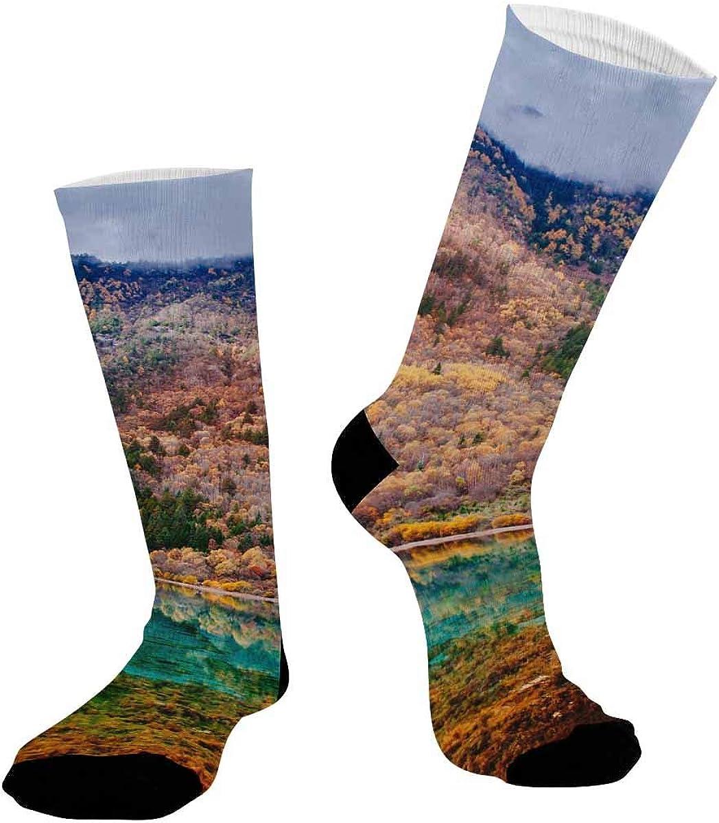INTERESTPRINT Breathable Sublimated Crew Socks Outdoor Athletic Socks Jiuzhaigou National Park