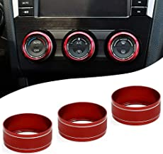 Motoparty AC Climate Control Knob Ring Covers For Subaru WRX STI Impreza Forester XV Crosstrek Control Switch Knob Covers,Red Anodized Aluminum