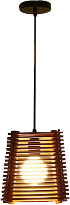 GRFH natürliche Holzschreiner Handgemachte Pendelleuchten im Wohnzimmer Esszimmer Square Deckenleuchten Exquisite Hollowed Holzrahmen Pendelleuchte E27 110V 220V, a1