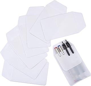 Sansheng 8 PCS pocket protector, transparent PVC heavy pocket protector, white pocket pen leak protector, school hospital ...