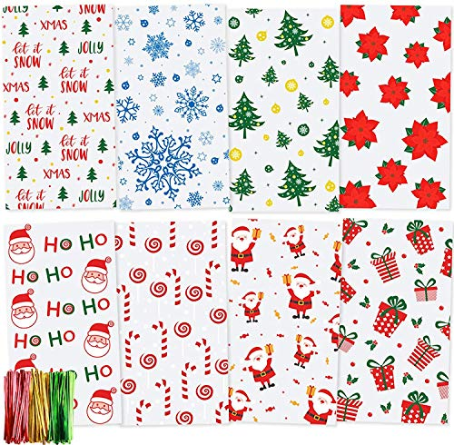 TOMNK Christmas Cellophane Bags 160 Pieces Treat Bags with Twist Ties for Holiday Goody, Party Favors, Cello Candy Bags and Gifts