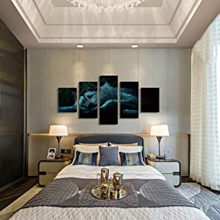 5 Canvas Paintings Lone Wolf Decoration Painting Home Office Picture Print Art Mural Decoration Draw Zyywai-size2-Framed