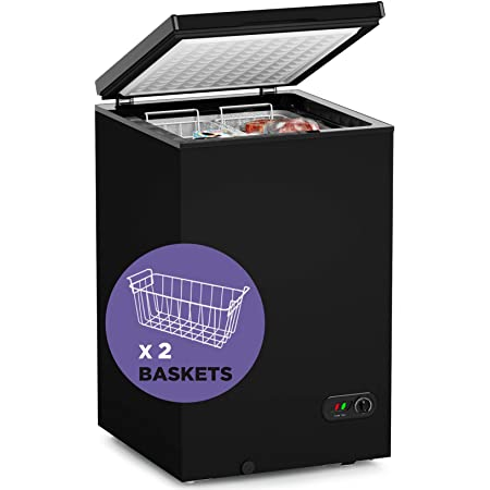Chest Freezer-3.5 cf Removable Wire Basket Organizer, from 6.8℉ to -4℉ Free Standing Compact Fridge Freezer for Home/Kitchen/Office/Bar (3.5 cubic feet, BLACK)