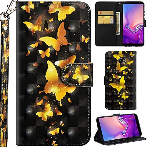 Ooboom Samsung Galaxy J4+ Plus Hülle 3D Flip PU Leder Schutzhülle Handy Tasche Hülle Cover Ständer mit Kartenfach Trageschlaufe für Samsung Galaxy J4+ Plus - Gold Schmetterling