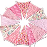 Bandierine triangolari in tessuto extralarge, colorate, 3,7 metri, Festone con bandierine,...