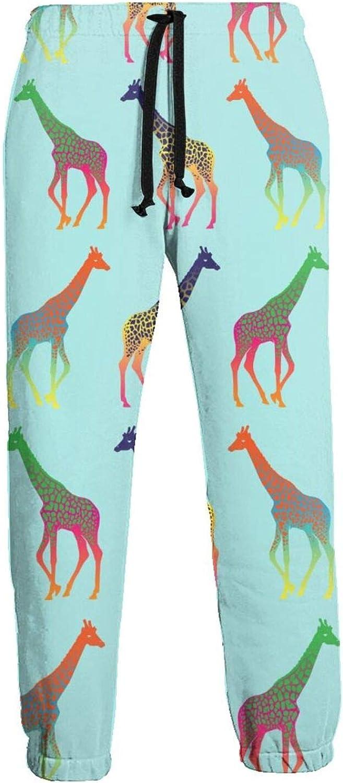 Men's Women's Sweatpants Giraffes Colorful Athletic Running Pants Workout Jogger Sports Pant