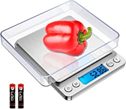 [Upgraded]Digital Kitchen Scale,3000g/ 0.1g Mini Pocket Jewelry Scale,Cooking Food Scale,Back-Lit LCD Display,2 Trays,6 Units,Auto Off,Tare,PCS,Stainless Steel,Batteries Included