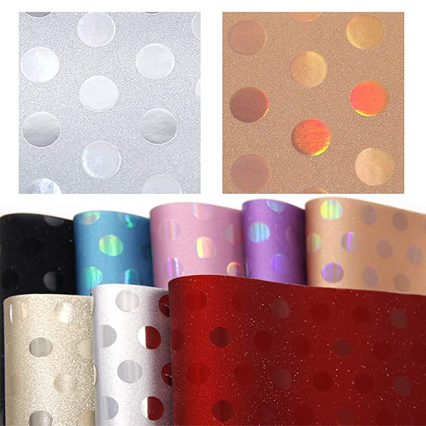 David accessories Faux Leather Sheets Holographic Laser Dot Printed Synthetic Leather 8 Pcs for DIY Craft Projects (Mixed Colors)