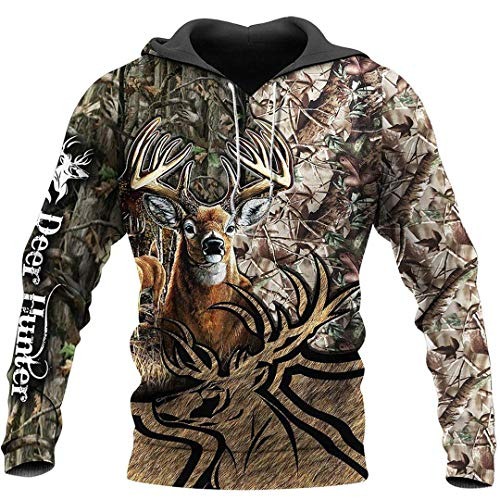 Unisex Hoodie Animal Hunting Camouflage Series 3D Printed Zipper Sweatshirt Blue XL