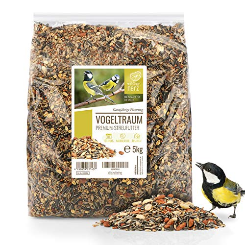 wildtier herz | Vogeltraum 5kg Premium Vogelfutter ohne Weizen für Wildvögel I Ganzjahresfutter mit Sonnenblumenkerne I Wildvogelfutter I Vogel Streufutter, Fettfutter für Vögel