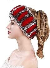 ZIYIUI Women Cozy Real Rex Rabbit Fur Headband Outdoor Hairband Soft Ear Warmer Elastic Neck Wraps