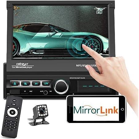 podofo Single Din Car Stereo Bluetooth 7 Inch Touchscreen Motorized & Retractable Car Radio in-Dash MP5 Player Support FM/AUX-in/USB/SD/Mirror Link + Remote + Backup Camera